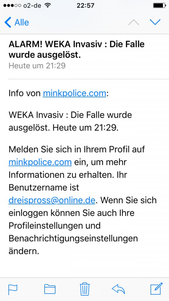 MINKPOLICE Alarmmeldung Email aufs Handy