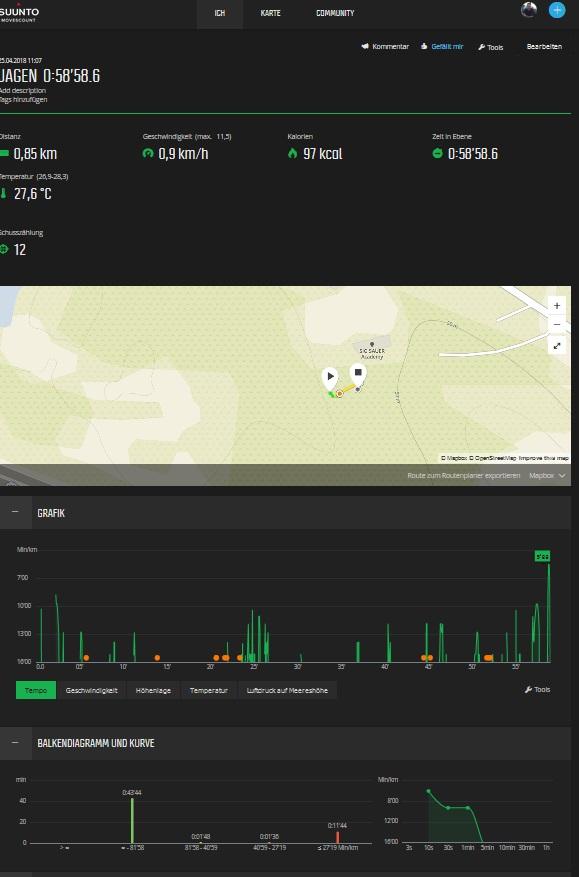 Suunto Traverse Alpha, Aufzeichnungen mit der MOVESCOUNT App